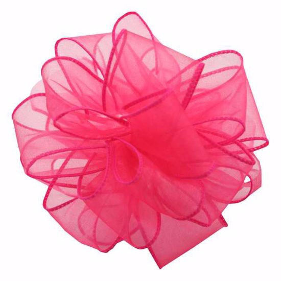 Picture of #9 Deluxe Sheer Wired Ribbon - Fuchsia
