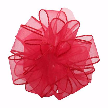 Picture of #9 Deluxe Sheer Wired Ribbon - Madam Red Rose