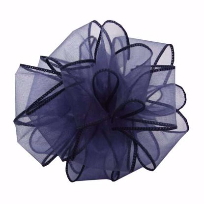 Picture of #9 Deluxe Sheer Wired Ribbon - Navy