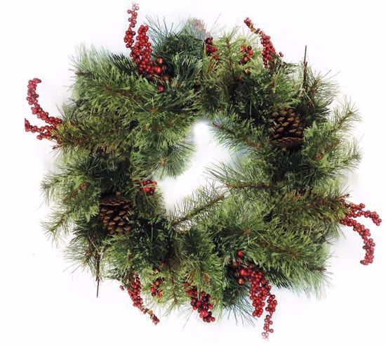 "Picture of 22"" Glitter Berry Needle Pine Wreath"