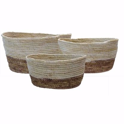 Picture of S/3 Sew Walnut/Natural Maize Baskets