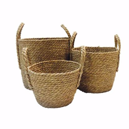 Picture of S/3 Round Natural Sew Cattail Root Baskets w/Ear Handles