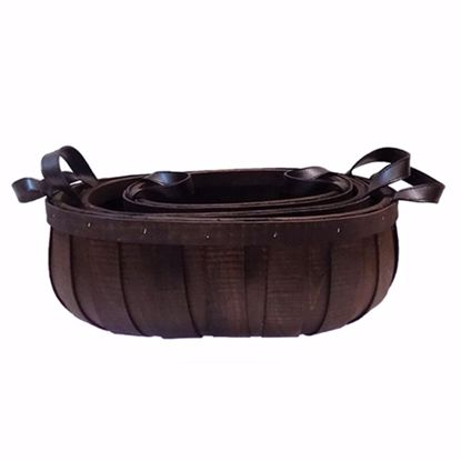 Picture of Oval Walnut Wood Basket with Ear Handle (Set of 3 sizes)-Dark Stain