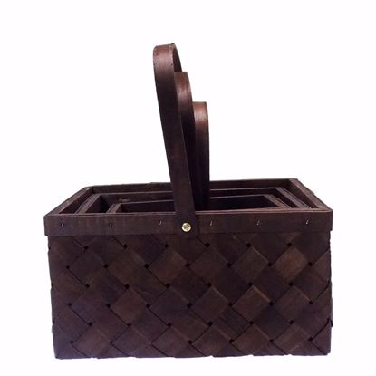 Picture of Rectangle Walnut Wood Basket Set (3 sizes) with Drop Handle-Dark Stain