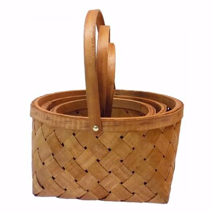 Picture of S/3 Round Sorrento Wood Stripe Baskets w/Drop Handle