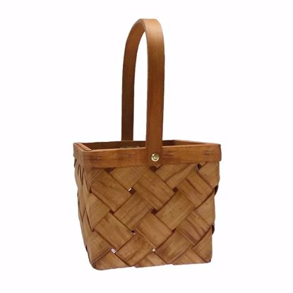 """Picture of 6"""" Square Sorrento Wood Basket with Drop Handle-Light Stain"""