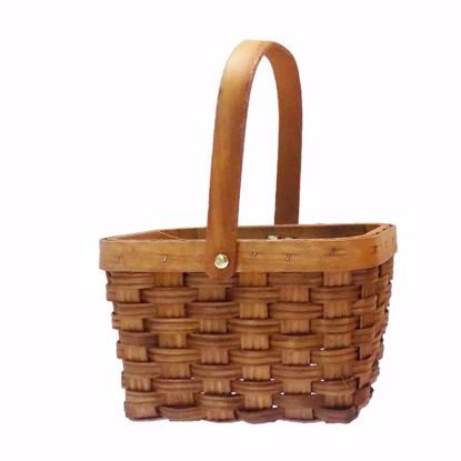 """Picture of 6.5"""" Rectangle Sorrento Wood Basket with Drop Handle-Light Stain"""