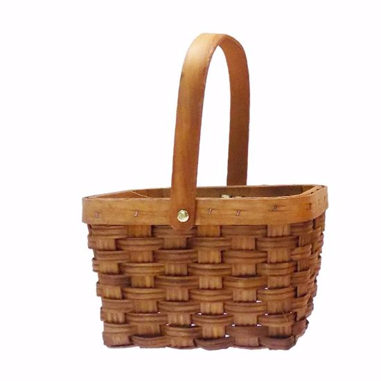 Picture of Rectangle Sorrento Wood Stripe Basket w/Drop Handle