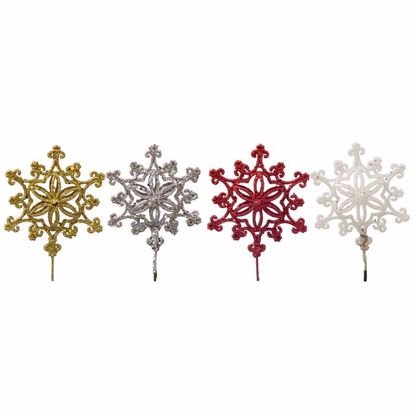 """Picture of Holiday Glitter Snowflake Pick  (14"""", 4 Assorted)"""