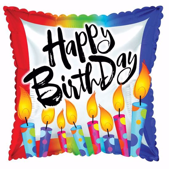 """Picture of 17"""" 2-Sided Foil Balloon: Happy Birthday Polka Dot Candles"""