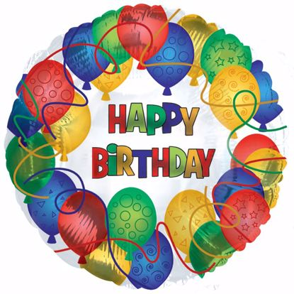 """Picture of 17"""" 2-Sided Foil Balloon: Happy Birthday Patterned"""