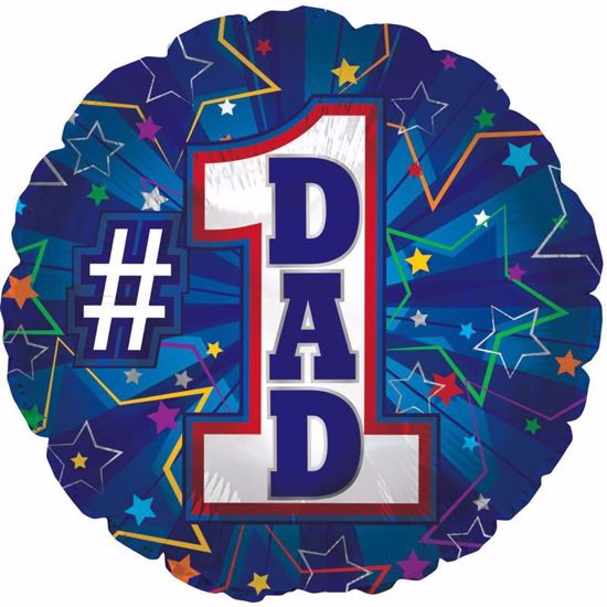 "Picture of 17"" 2-Sided Foil Balloon: HFD #1 Dad Blue"