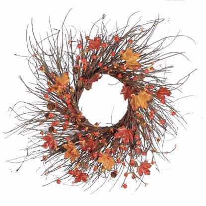 """Picture of Autumn Leaves Maple Grapevine Base Wreath (26"""")"""