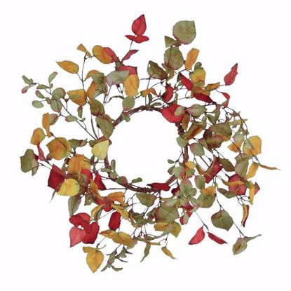 """Picture of Autumn Leaves Birch Candle Wreath (16"""")"""
