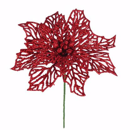 """Picture of Holiday Red Glitter Poinsettia Pick (6"""")"""