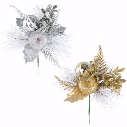 """Picture of Holiday Gold/Silver Sprig Pick (8"""", 2 Assorted)"""