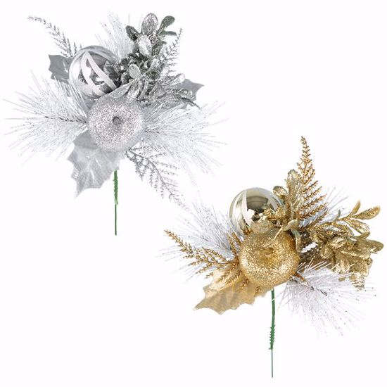 """Picture of 8"""" Gold/Silver Sprig Pick - 2 Assorted"""