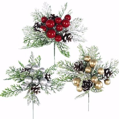 """Picture of Holiday Berry/Cone Sprig Pick (7"""", 3 Assorted, Plastic)"""