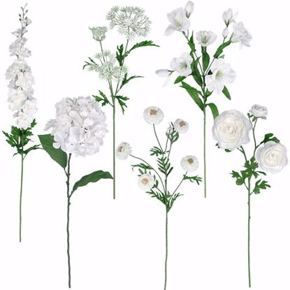 """Picture of White Glitter Stem Assortment (Bouquet in a Box)  (24 Stems, 25"""")"""