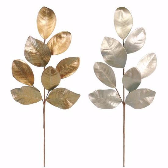 "Picture of 27"" Gold & Silver Magnolia Leaf Spray - 2 Assorted"