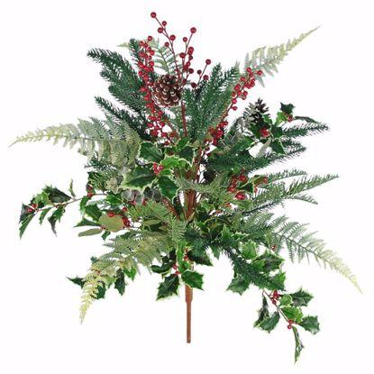 "Picture of Festive Winter Super Bush-Fern, Holly, Berries, Pine, Pinecones (28"", Plastic)"