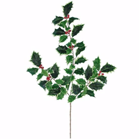"""Picture of 20"""" Plastic Real Touch Holly Spray with Plastic Berries"""
