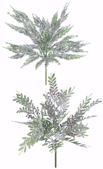 """Picture of Evergreen Bush-Snowy Leaf (2 Styles, 6 Stems, 18"""")"""