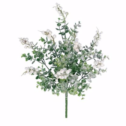 "Picture of 15"" Plastic White Frosted Eucberry Bush x 9"