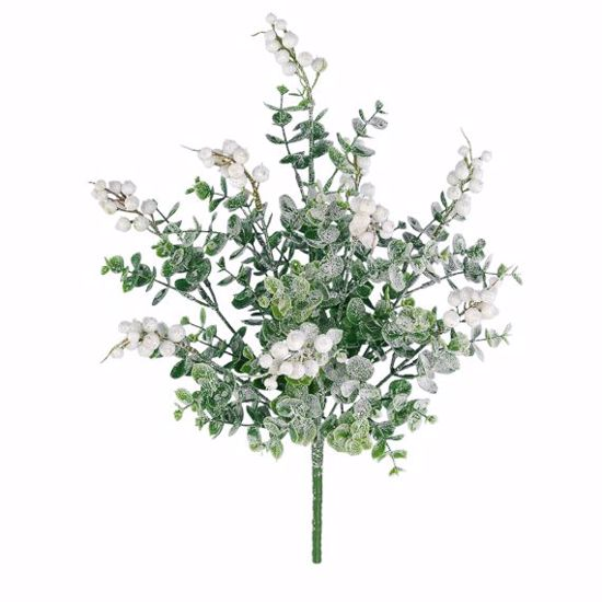 """Picture of 15"""" Plastic White Frosted Eucberry Bush x 9"""