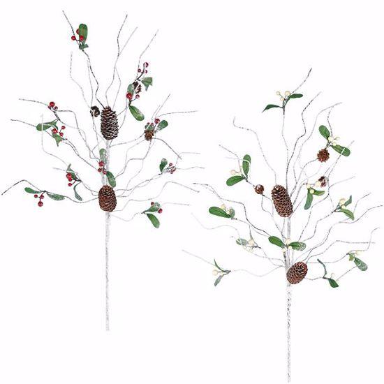 "Picture of 30"" Winter Birch Berry Flocked/Glitter Spray - 2 Assorted"