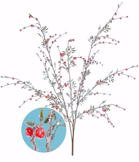 "Picture of Flocked Glitter Berry Bush (34"", 3 Stems, Plastic)"