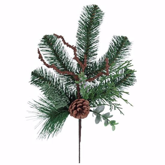 """Picture of Evergreen Spray/Sprig-Mixed Pine with Branches (Plastic, 15"""")"""