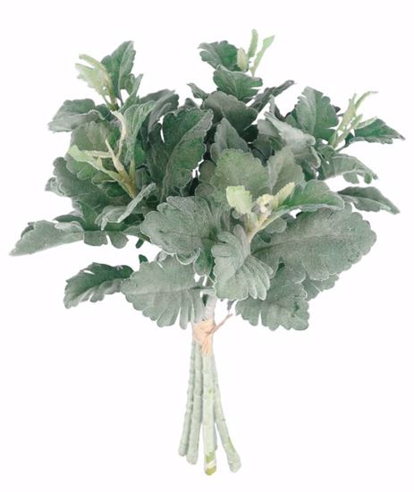 """Picture of 18"""" Flocked Dusty Miller Bundle x 5"""