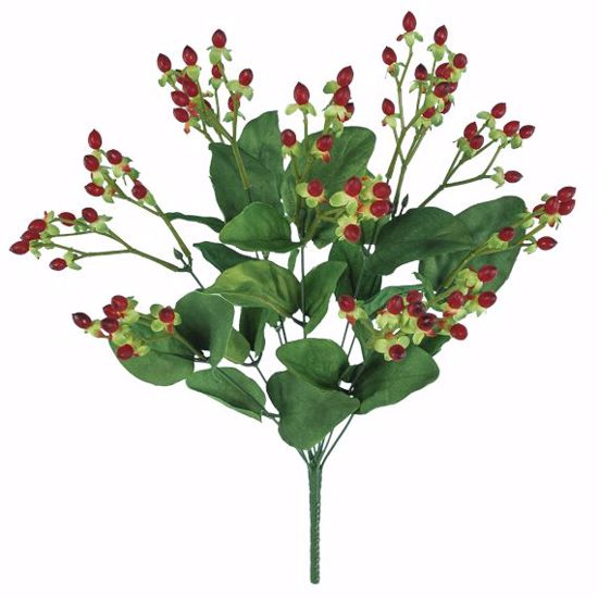 "Picture of 19"" Dark Red Hypericum Bush w/Plastic Berries"
