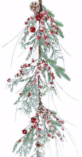 "Picture of Festive Winter Garland-Flocked Glitter Bell  (60"", Plastic)"