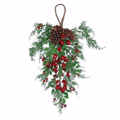 """Picture of Festive Winter Teardrop-Berries, Bells, Pinecones (24"""")"""