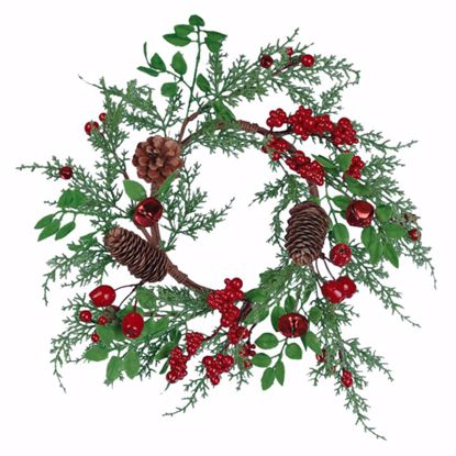 """Picture of Holiday Candle Wreath-Berries, Bells, Pinecones (12"""", Plastic)"""