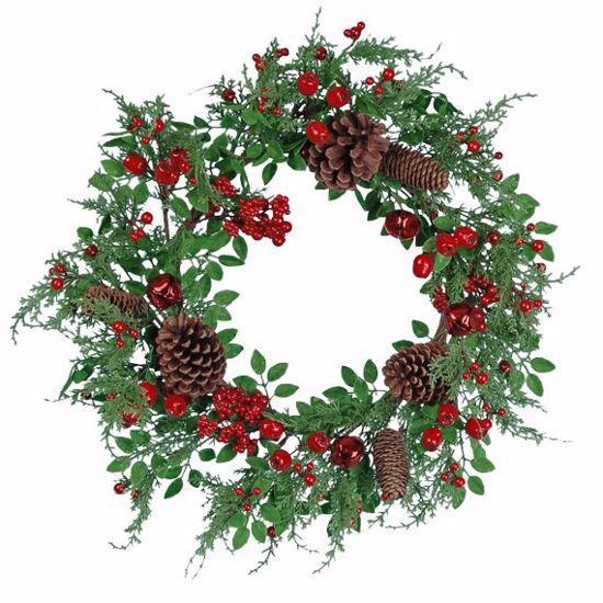 """Picture of Festive Winter Wreath-Berries, Bells, Pinecones (20"""", Plastic)"""