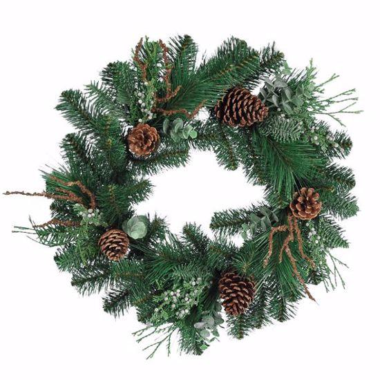"Picture of Festive Winter Wreath-Pinecones & Berries (20"", Plastic, Metal Base)"