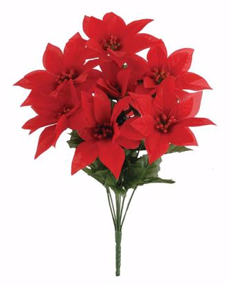 """Picture of Red Poinsettia Bush (16"""", 9 Stems)"""