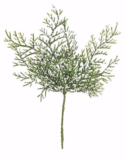 """Picture of 9"""" Plastic Frosted Cedar Sprig Pick"""