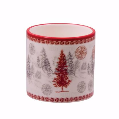 """Picture of Ceramic Planter with Red Tree 3.75"""""""