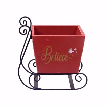 """Picture of Wooden """"BELIEVE"""" Sleigh with Metal Runners"""
