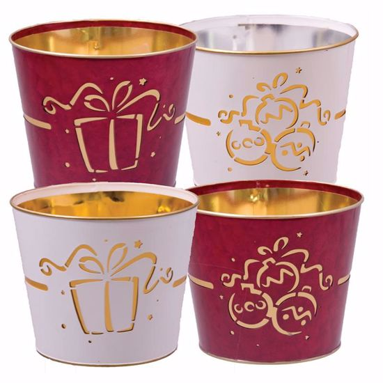 """Picture of 4 Assorted Red & White Metal Pot Cover withOrnament & Gift Pattern - 4.5"""""""