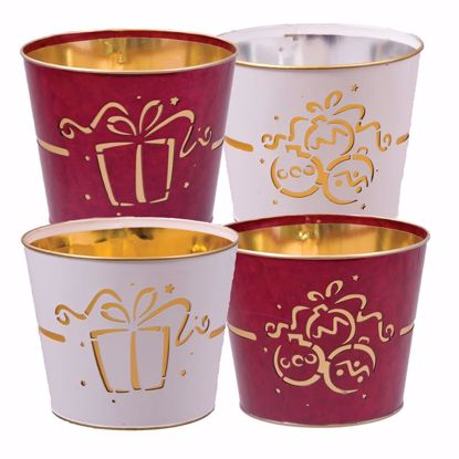 """Picture of 4 Assorted Red & White Metal Pot Cover with Ornament & Gift Pattern -7"""""""