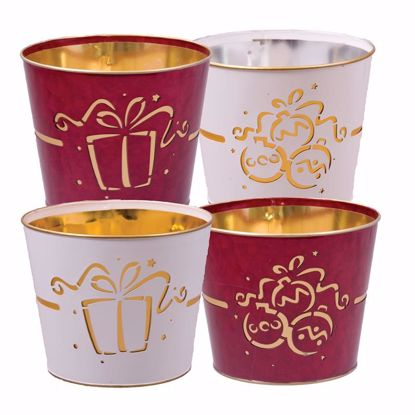 """Picture of 4 Assorted Red & White Metal Pot Cover withOrnament & Gift Pattern -9"""""""