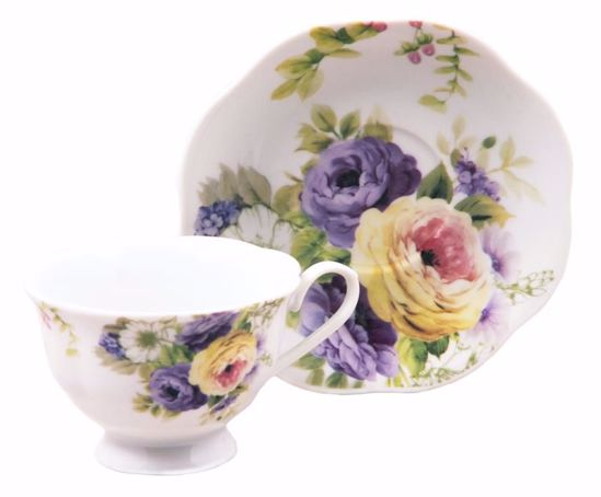 Picture of Multifloral Porcelain Teacup and Saucer