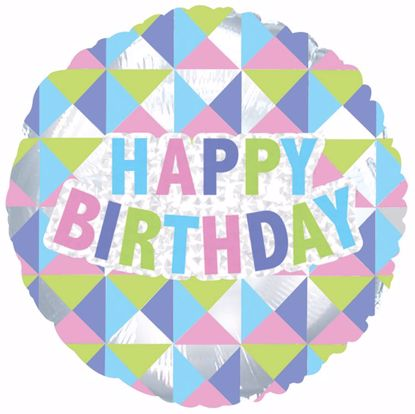 """Picture of 17"""" 2-Sided Foil Balloon: Happy Birthday Geometric"""