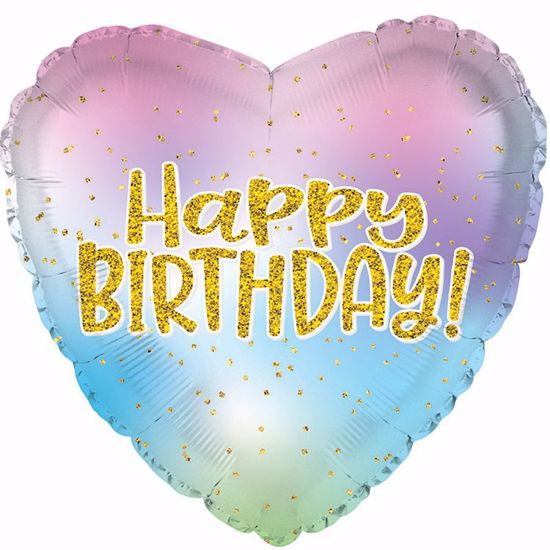 """Picture of 17"""" 2-Sided Foil Balloon: Happy Birthday Iridescent Heart"""