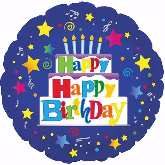 """Picture of 17"""" 2-Sided Foil Balloon: Happy Birthday Cake/Stars"""
